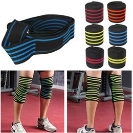 Wholesale Weight Equipment Wholesalers - 200*8CM Knee Wraps Men's Fitness Weight Lifting Sports Nylon Elastic Knee Bandages Squats Training Equipment Accessories