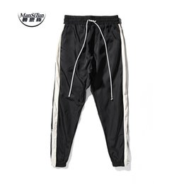 Wholesale Full Si - Wholesale- Man Si Tun 2017 New pants hiphop Fashion jogger urban clothing red bottoms FOG jogger justin bieber Fear Of God zipper Pants
