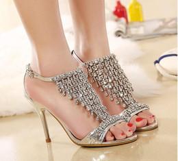 Wholesale Bride Heel Sandals - New style Women sexy sandals Bridal Dress Shoes Diamond high-heeled sandals silver wedding shoes banquet bride sandals size:US4-9 NL141