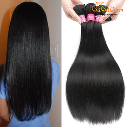 Wholesale 22 Real Human Hair Extensions - 8A Peruvian Virgin Hair Weaves Dyeable Peruvian Hair Straight 4 Bundles 100%Unprocessed Human Hair Extensions Real Queen Products