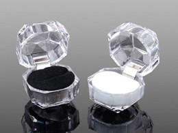 Wholesale Epackfree colors Rings Box Jewelry clear Acrylic jewellery Boxes wedding gift box ring stud dust plug box