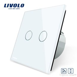 Wholesale Black White Curtain Panels - 11 FREE Shipping, Livolo EU Standard Touch house home led remote curtains Switch, Luxury White Crystal Glass Panel, C702WR-11 2 5