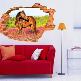 2020 лесные обои для спальни Wholesale- Modern 3D Wallpaper Horse Flower Forest  Creative Bedroom Living Ceiling Painting Roofs Room High Quality Wall Stickers дешево лесные обои для спальни