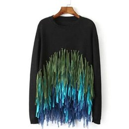 Wholesale Tassel Knit Pullover - Wholesale-Fashion Ladies Knitwear Black Tassel Pullovers for Women Pull Knitted Fringe Jumpers Tops Long Sleeve Sweaters