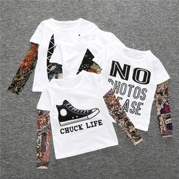 Wholesale Tattoo Clothes Fashion - 2017 kids clothes Autumn new hot section children's clothing t-shirt long-sleeved tattoo t-shirt