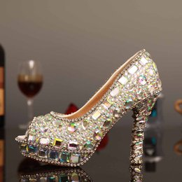 Wholesale Silver Beaded Peep Toe Heels - Peep Toe Silver Crystal Rhinestones Wedding Shoes Dimond Women Evening Party Prom Pageant High-Heeled Beaded Bridesmaid Bride Bridal Pumps