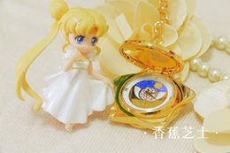 Wholesale Christmas Led Gift Boxes - Wholesale-Sailor Moon 20th Anniversary Pocket Watch Music Box Golden Color Cos Christmas Gift