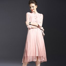 Wholesale Cheongsam Temperament - Dresses For Womens Elegant Temperament Chinese Wind Restoring Ancient Ways Improved Cheongsam Pure Color 7 Minutes of Sleeve Off Two Dresses