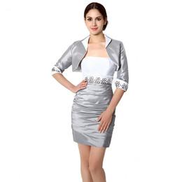 Wholesale Dresses Bride Taffeta - Custom Made Knee Length Mother of the Bride Dress With Jacket Silver Taffeta Corset Back Free Shipping