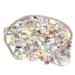 Wholesale Top Lockets - 50 Pcs lot Top Sale Mix Design Floating Charms for Glass Living Memory Locket Pendant DIY Floating Charms Lockets Jewelry Accessories