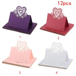 Wholesale Love Place Cards - Wholesale-Fast shipment 12Pcs Love Heart Lace Wedding Table Decor Place Name Cards Cut-Out Bridal