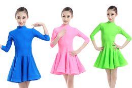 Wholesale Dancewear Latin Dress - Factory provided 2017 New Girls Kids Pink Green Royal Blue Ballroom Dance Dress Skirt Latin Performance Dancewear 100-170cm RLD115