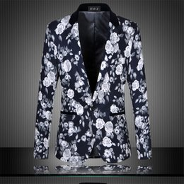 Wholesale Colorful Blazers - Wholesale- Vintage Skinny Suit Blazer Men Printed Feathers Casual Party Stage Wear Pattern Colorful Slim Fit Blazer Homme M-6XL
