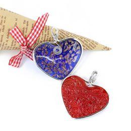 Wholesale Wholesale Metal Beads China - 2017 New Design Gold Sand Lampwork Heart Beads Necklace Pendant With Metal Edge 12pcs box MC0001