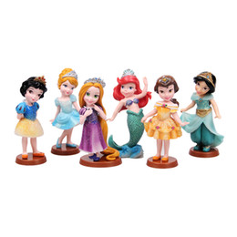 Wholesale Princess Figurines - 6 Pcs set Snow White Princess action figure toys 9cm Mermaid Cinderella PVC Figurines Collectible Dolls for Kids toy gift