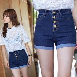 Wholesale Denim Roll High - Wholesale- free shipping Plus size high waist denim shorts super elastic female roll up hem buttons denim shorts