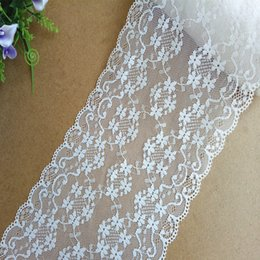 Wholesale Trim For Wedding Cakes - Free shipping 10yds lot 16CM Width Big Jacquard Lace(JL001) White Nylon Floral Sewing Eyelet Trim for Wedding dress apparel cake topper