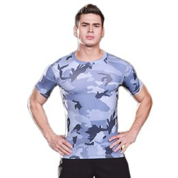 Wholesale Fitting Compression - Men's tight-fitting short-sleeved sports fitness running training camouflage uniforms dry stretch compression body sculpting T-shirt clothes