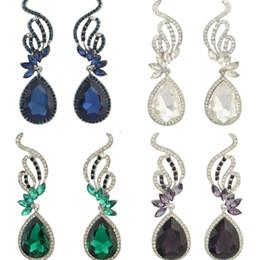 Wholesale Coloured Crystal Chandeliers - Earrings European Style Diamond Women Girls Crystal Chandelier Lady Beatiful Dangle Wholesale Four Colours Earring Gift E3