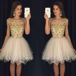 Wholesale Sexy Champagne Dress Embellishments - Homecoming Dresses 2016 Scoop Zipper Back Mini Prom Dresses Piping Tulle Ball Gown With Gold Embellishment Short Prom Party Gowns