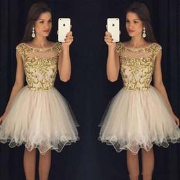 embellissement applique Promotion Robes de bal 2016 Scoop Zipper Retour Mini Robes De Bal Tuyauterie Tulle Robe De Bal Avec Or Embellissement Court Robes De Fête De Bal