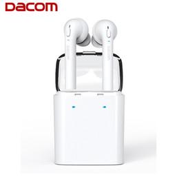 Wholesale Dacom Bluetooth Headset - Original Dacom MINI Double-ear Wireless Bluetooth Headset True Wireless Technology Sport Earphone TWS For iphone airpods 7S Smartphone