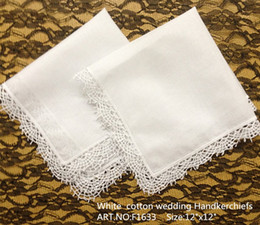 """Wholesale Home Textile Free Shipping - Free Shipping Home &Textiles 12PCS Lot 12x12""""High Quality White soft 100%cotton Ladies Handkerchief Embroidered Lace scallop edges for bride"""
