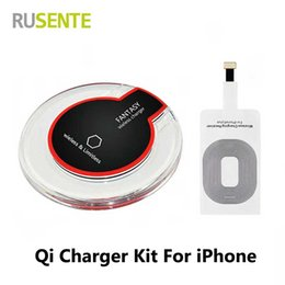 Wholesale Qi Charging Pad Receiver - 2017 Hot sell Qi Mobile Wireless Charger Pad Charging Receiver kit For iPhone 5 5S 5C SE 6 6S Plus 7 7Plus CellPhones