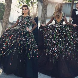 Wholesale Model Show - 2017 Real Fabric Show Jewel Collar Long Sleeves Custom made Ball Gown Plus Size Floral Embroider Black Formal Evening Dresses