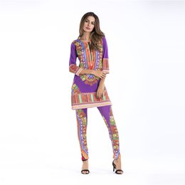 Wholesale African Pants - Women's Two Piece Pants Set Floral African Print Sleeve Top Suits and Pants Fashion 2017 Splice Clothes DRS022