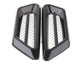 Wholesale Decoration Vent Cover - Black Silver Universal Car Air Intake Flow Vent Fender Decoration Stickers Side Mesh Cover Hood Bonnet ABS Car Styling