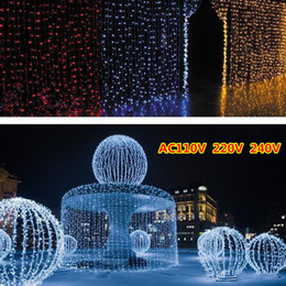 Wholesale Outdoor Christmas Decorations Uk - 2015 500 Led Curtain Light 10m*1.5m 110- 220v Christmas Xmas Outdoor String Fairy Lights Wedding Party Decoration Au Eu Us Uk Plug