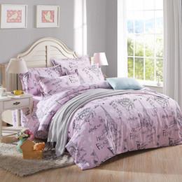 Wholesale Romantic King Bedding - Wholesale- Romantic love letter purple Eiffel Tower in Paris bedding sets Duvet Cover Pillowcases Bed Sheet Sets 6 size 3 4pcs Home Textile