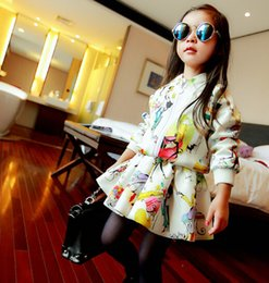 Wholesale Set Girls Autumn Dress Coat - HUG ME Fashion children girls tulip printing outfits Autumn dress+coat 2pcs set Cotton baby outfits kids Cotton Clothes set free shipping