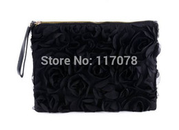 Wholesale Handbag Rose Women Wholesale - Wholesale-New 2014 Women Fashion Black Handbags Lace Rose Day Clutches Evening Bag SV002126