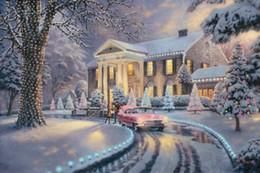 pittura a olio di thomas kinkade Sconti Graceland Christmas Thomas Kinkade Dipinti ad olio Wall Art Modern HD Stampa su Tela Decorazione No Frame