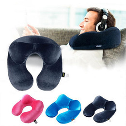 Wholesale Seat Rest - Inflatable Neck Pillow Portable Travel Soft U Shape Head Support Cushion Rest Car Flight Seat Pillow OOA2336