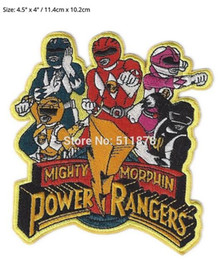 """Wholesale Wholesale Running Jackets - 4.5"""" EX LARGE POWER RAN GERS IRON ON PATCH Movie TV Game Series Costume Embroidered Emblem Sew on applique hat jacket Badge"""