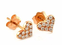 Wholesale Gold 18k Diamond Certified - New Certified 18k Yellow Gold Earring  Real 0.18ct heart Shape Stud   0.7g