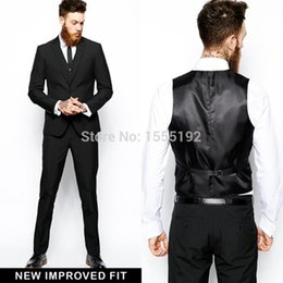 Wholesale Prom Tux - Wholesale- 2017 3 Pieces Custom Made Groom Tuxedos Business Suits Classic Natch Lapel White Blazer Men Prom Mens Tux Bridegroom Jacket Pant