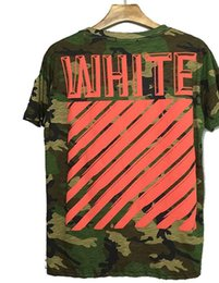 Wholesale Women Camouflage Fashion Shirts - Newcomers Off White T Shirt Hip-Hop Camouflage Men Women Striped T-Shirt Famous Brand-Clothing Off White Tee Shirt Homme