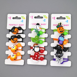 Wholesale Theme Pins Wholesale - hot sale festival theme children hair accessories including christmas hair pins & halloween hair ropes 4pcs card