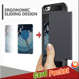 Wholesale Iphone Bumper Slot - Luxury Card Pocket Wallet case Shockproof Card Holder Slot Case Anti-scratch Shell Rubber Bumper Cases FOR IPhone x 8 7 plus Samsung S8