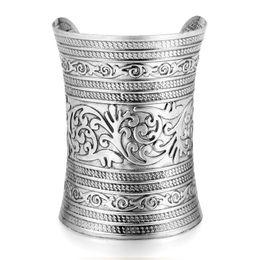 Wholesale Vintage Armlet - Wholesale- D 1pc 2015 tibetan punk rock vintage gold silver plated carving open end cuff arm womens bangle bracelet armlet jewelry pulseira