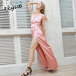 Wholesale Satin Pink Blue Pajamas - Slip satin backless sexy long dress Women pajamas summer dress evening Party elegant black maxi dresses vestidos