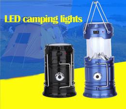 projecteurs utilisés Promotion 5 W 2 Utiliser Main Lampe Portable Pliable Rechargeable Solaire Lanterne Tente Lumière pour Randonnée Camping Éclairage Extérieur b312