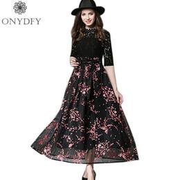 f347177a0c98 Runway Dresses 2017 Women High Quality Stand Neck Vintage Lace Dress Floral  Print Long Maxi Dresses Party Vestidos Robe Femme