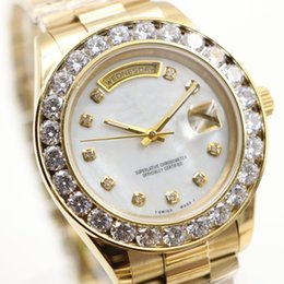 Wholesale Pearl Sapphire - AAA Sapphire Luxury Brand mens Watches Gold President Day-Date Big Diamonds Mother Pearl Dial Diamond Bezel Stainless Automatic mens watches