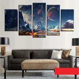 Wholesale Canvas Piece Sets - Wholesale 5 Pieces Canvas Set Mountains And Space Photos Printed On Canvas Wall Art Picture For Living Room Home Decoration