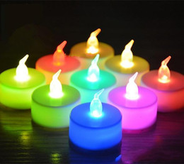 Wholesale White Wedding Pillar Candles - Christmas lights 3.5*4.5cm Battery operated Flicker Flameless LED Tealight Tea Candles Light Wedding Birthday Party Christmas Decoration
